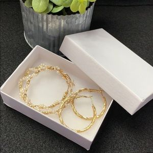 Gold and Pearl Hoop Earrings Set w/ Gift Box